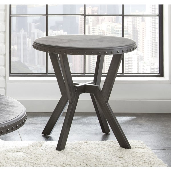 Avilla Grey Metal Round Industrialstyle End Table by Greyson Living
