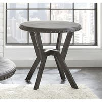 Avilla Grey Metal Round Industrial-style End Table  by Greyson Living
