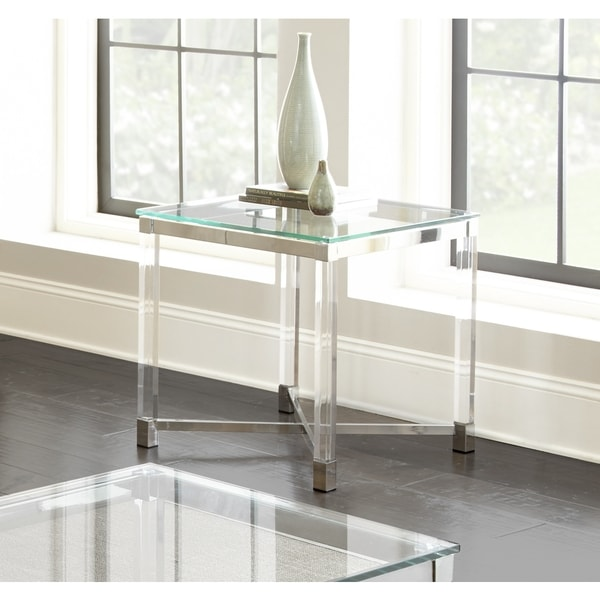 Tamina Contemporary Glass Top End Table by Greyson Living