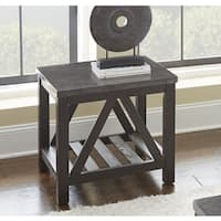 New Badin Charcoal Grey End Table with Bluestone Top  by Greyson Living