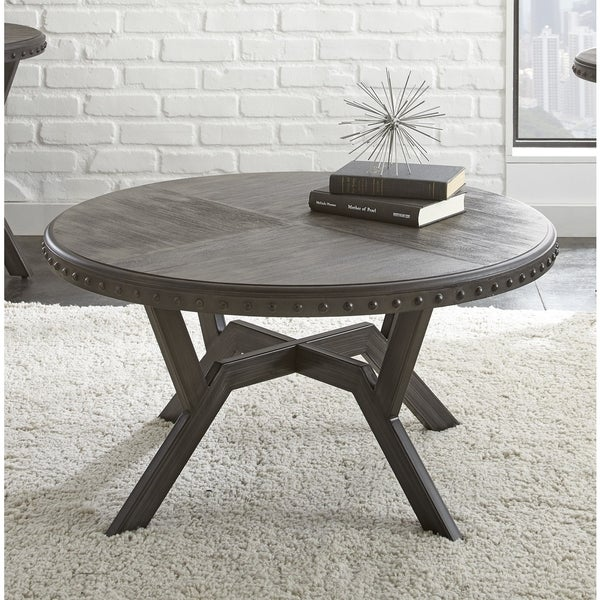 Round Wood And Embossed Metal Kiran Coffee Table: Shop Avilla Grey Wood/Metal 36-inch Round Industrial