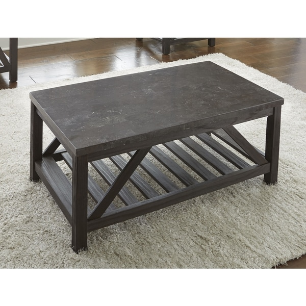 New badin 48 inch rectangle coffee table with bluestone for 50 inch coffee table