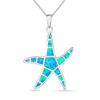 La Preciosa Sterling Silver Nautical Blue Inlay Opal Starfish Pendant with Chain