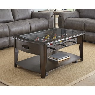 Greyson Living Darlington Dark Walnut Wood/Glass Foosball Coffee Table