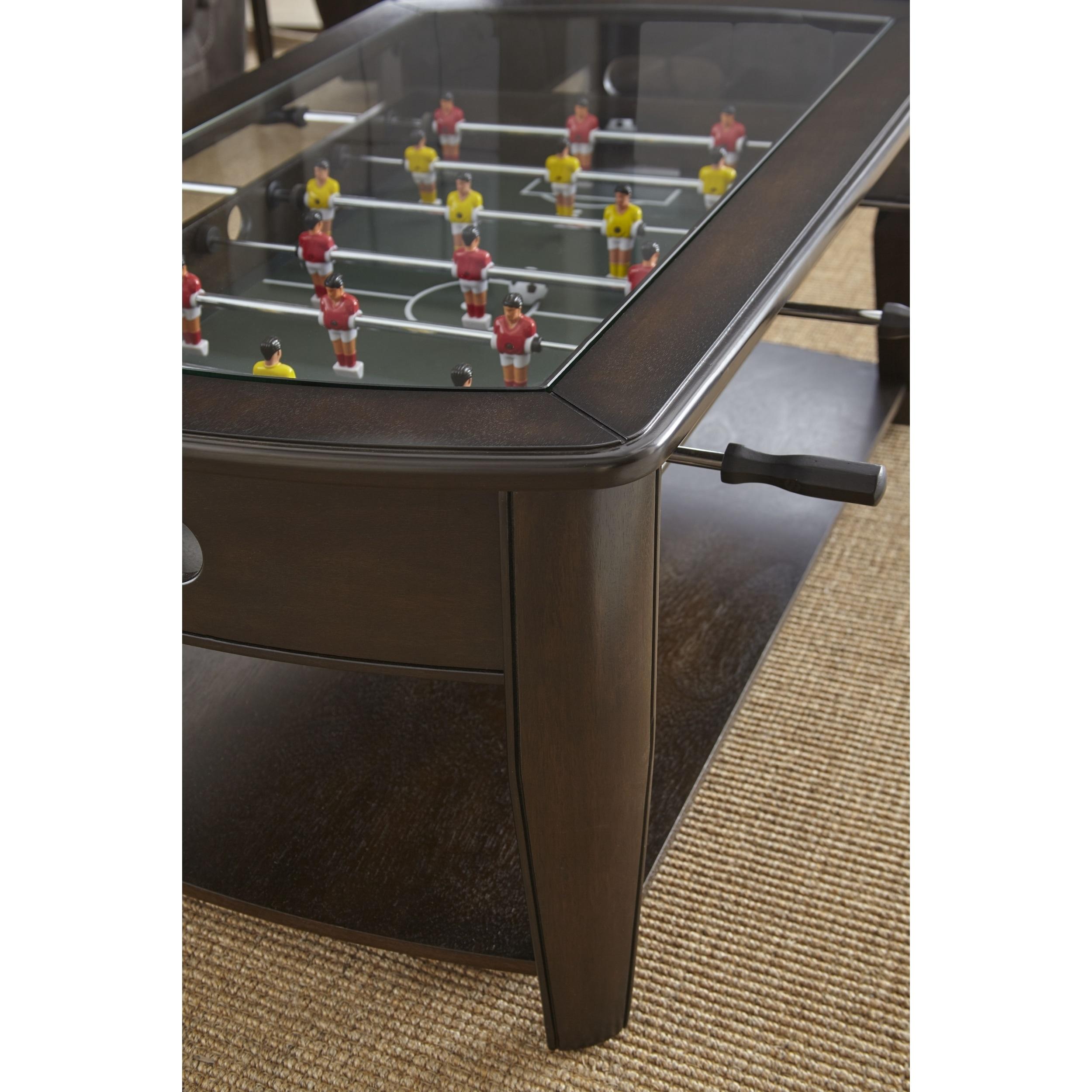 Shop Black Friday Deals On Greyson Living Darlington Dark Walnut Wood Glass Foosball Coffee Table Overstock 17116003
