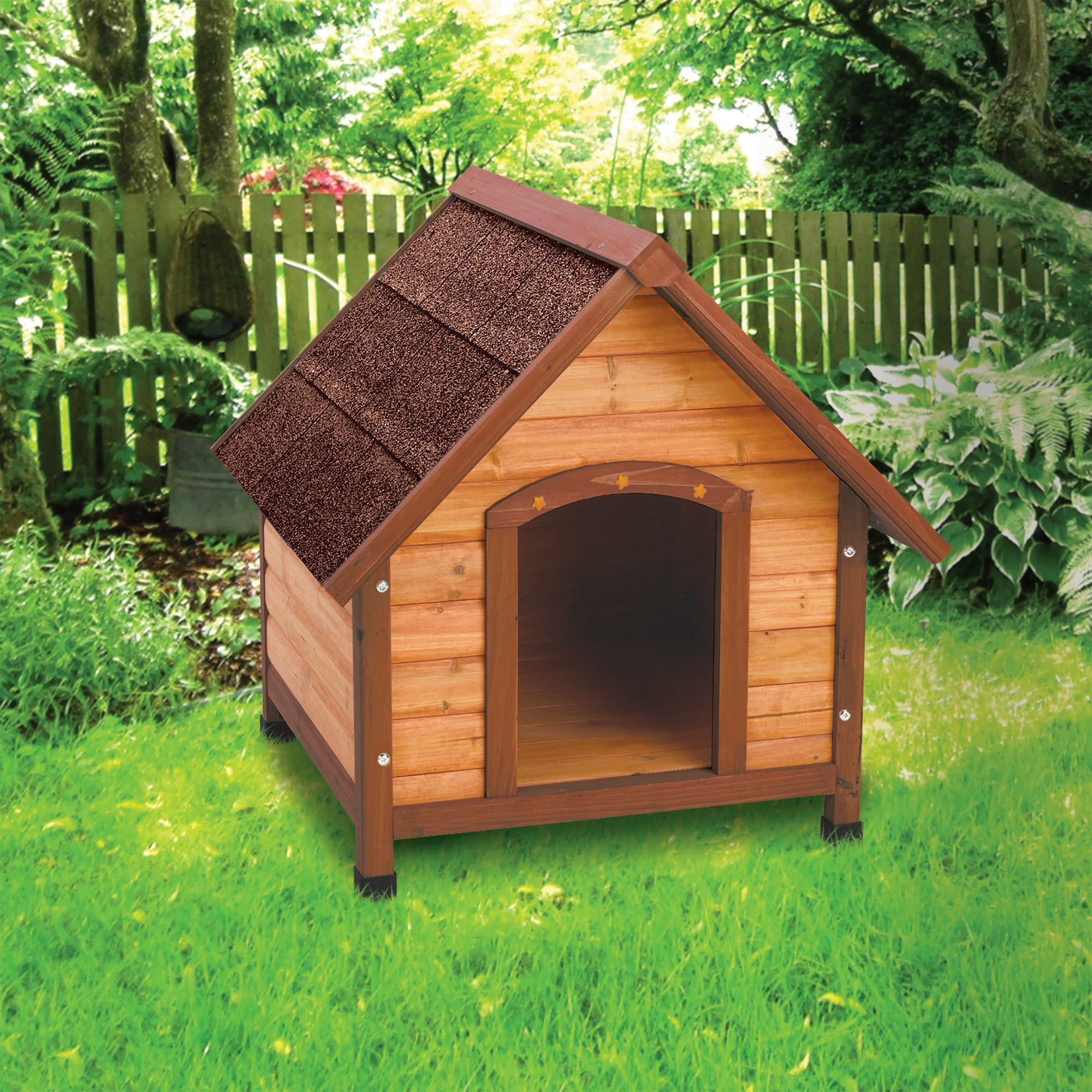 Ware Small Premium+ A-Frame Doghouse (Small), Brown