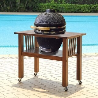 Duluth Forge 18 Inch Kamado Grill With Table - Brown Spice Table