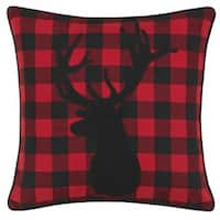 Eddie Bauer Cabin Plaid Stag Head Throw Pillow