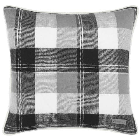 Eddie Bauer Lodge Grey Plaid Throw Pillow