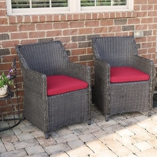 Sea Island Wicker Patio Lounge Chair Set With Red Cushion - Set of 2