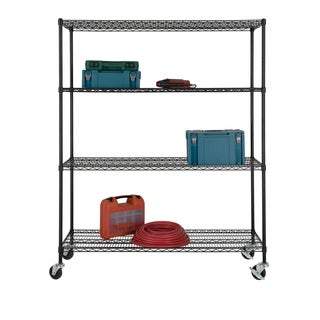 Excel NSF Multi-Purpose 4-Tier Wire Shelving Unit with Casters, 60 in. x 24 in. x 77 in., Black