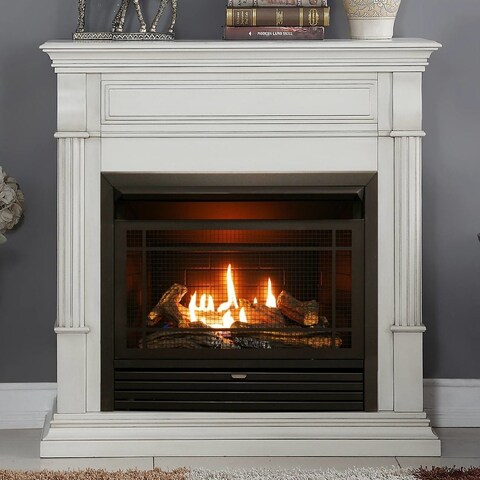 Duluth Forge Dual Fuel Ventless Gas Fireplace - 26,000 BTU, T-Stat Control, Antique White Finish