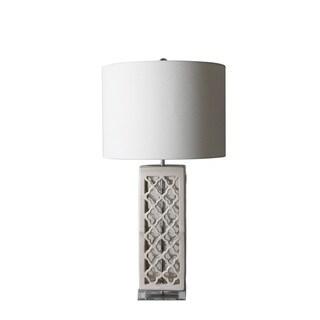 Jeco Beryl White/Beige Metal/Ceramic 30-inch Table Lamp