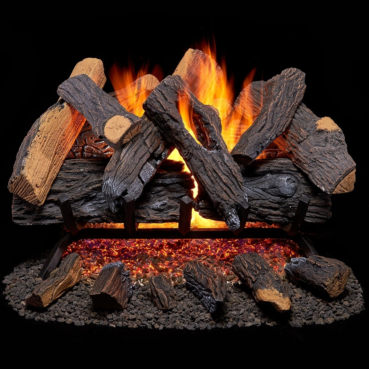 Duluth Forge Vented Natural Gas Fireplace Log Set - 30 in...