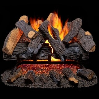 Duluth Forge Vented Natural Gas Fireplace Log Set - 30 in., 65,000 BTU, Heartland Oak