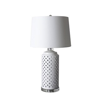Jeco Bernice White Ceramic/Metal 29-inch Table Lamp