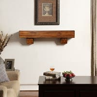 Duluth Forge 48-Inch Fireplace Shelf Mantel With Corbels - Brown Finish