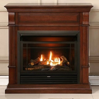 Duluth Forge Dual Fuel Ventless Gas Fireplace - 26,000 BTU, T-Stat Control, Auburn Cherry Finish