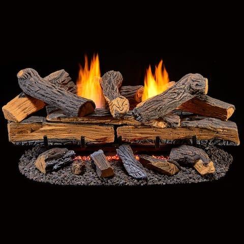 Duluth Forge Ventless Natural Gas Log Set - 30 in. Split Red Oak - Manual Control