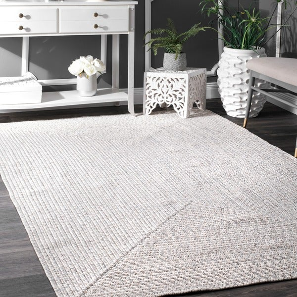 nuLOOM Handmade Casual Solid Braided Indoor/Outdoor Ivory Rug (4 ...