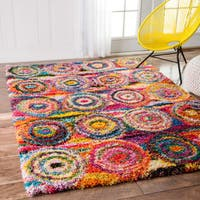 nuLOOM Contemporary Abstract Circles Shag Multi Rug (3'3 x 5')