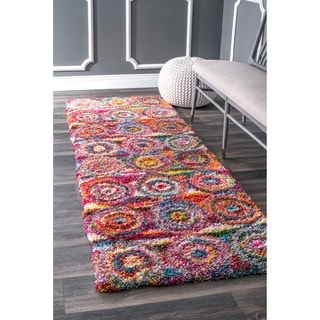 nuLOOM Contemporary Abstract Circles Shag Multi Runner Rug (2'8 x 8')