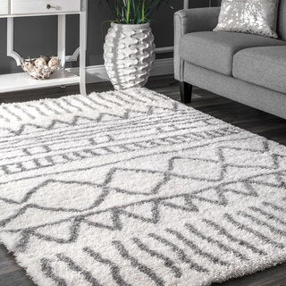 nuLOOM Soft and Plush Cloudy Shag Moroccan Geometric Grey Rug (9' x 12')
