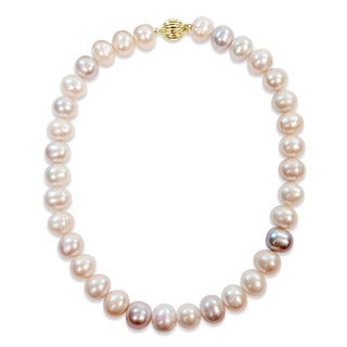 Miadora Signature Collection 14k Yellow Gold Multi-Color Cultured Freshwater Graduated Pearl Necklace (13.5-14.5 mm)