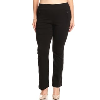 Xehar Womens Plus Size Casual Fashion Solid Flared Pants