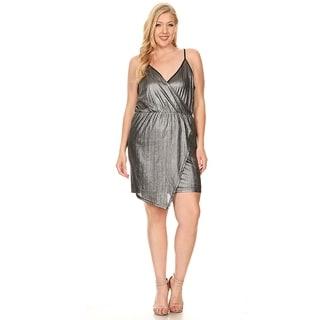 Xehar Womens Plus Size Sexy Metallic Short Mini Cocktail Dress