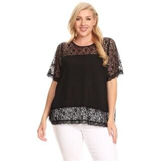Xehar Womens Plus Size Illusion Lace Button Back Blouse Tunic Top