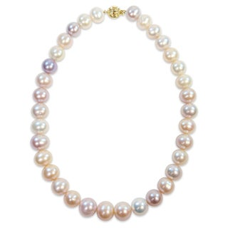 Miadora Signature Collection 14k Yellow Gold Multi-Color Cultured Freshwater Graduated Pearl Necklace (12.5-14.5 mm)