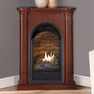 Duluth Forge Dual Fuel Ventless Fireplace With Mantel - 15,000 BTU, T-Stat, Walnut Finish