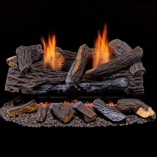Duluth Forge Ventless Natural Gas Log Set - 24 in. Stacked Red Oak - Manual Control