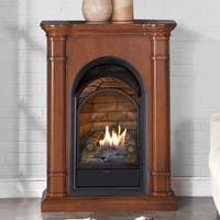 Duluth Forge Dual Fuel Ventless Fireplace With Mantel - 15,000 BTU, T-Stat, Apple Spice Finish