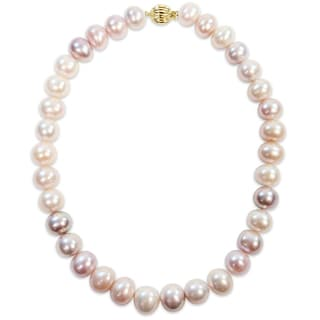 Miadora Signature Collection 14k Yellow Gold Multi-Color Cultured Freshwater Pearl Necklace (12.5-14.5 mm)