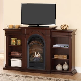 Duluth Forge Dual Fuel Ventless Fireplace With Bookshelves - 15,000 BTU, T-Stat, Chocolate Finish