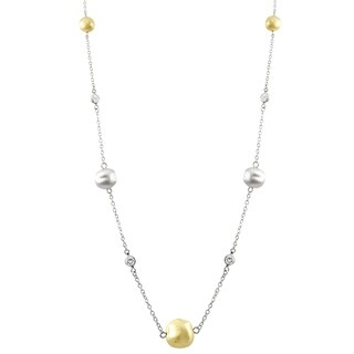 Luxiro Gold and Silver Matte Finish Cubic Zirconia Necklace