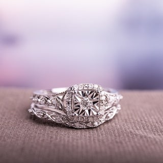 Miadora Sterling Silver 1/5ct TDW Diamond Halo Infinity Bridal Ring Set (5 options available)