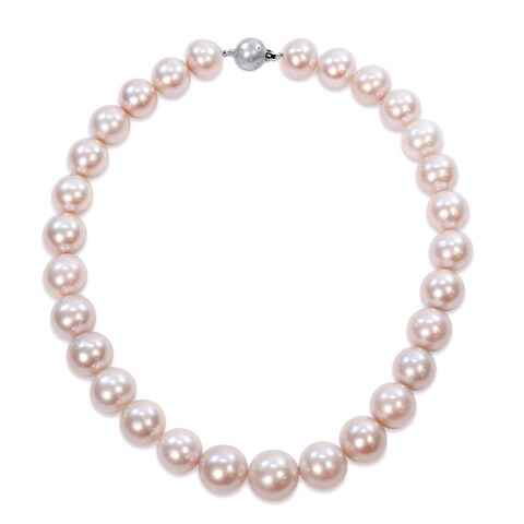 Miadora Signature Collection 14k White Gold Pink Cultured Freshwater Graduated Pearl Necklace (15-16 mm)