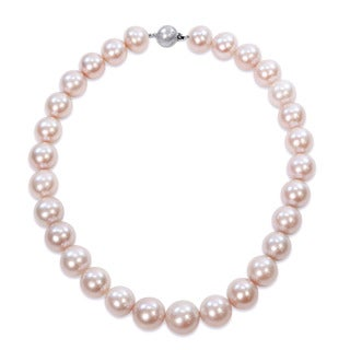 Miadora Pink Cultured Freshwater Graduated Pearl Necklace with 14k White Gold Diamond Ball Clasp (14.5-16 mm)