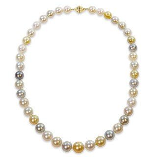 Miadora Signature Collection 14k Yellow Gold White Black and Gold South Sea and Tahitian Pearl Necklace (9-11.5 mm) - Multi