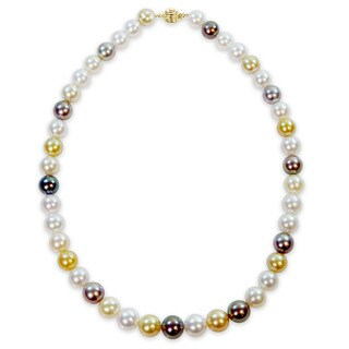 Miadora Signature Collection 14k Yellow Gold White Black and Gold South Sea and Tahitian Pearl Necklace (9-11.5mm) - Multi