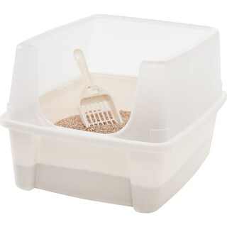 IRIS Litter Box with Shield and Scoop (Option: White)