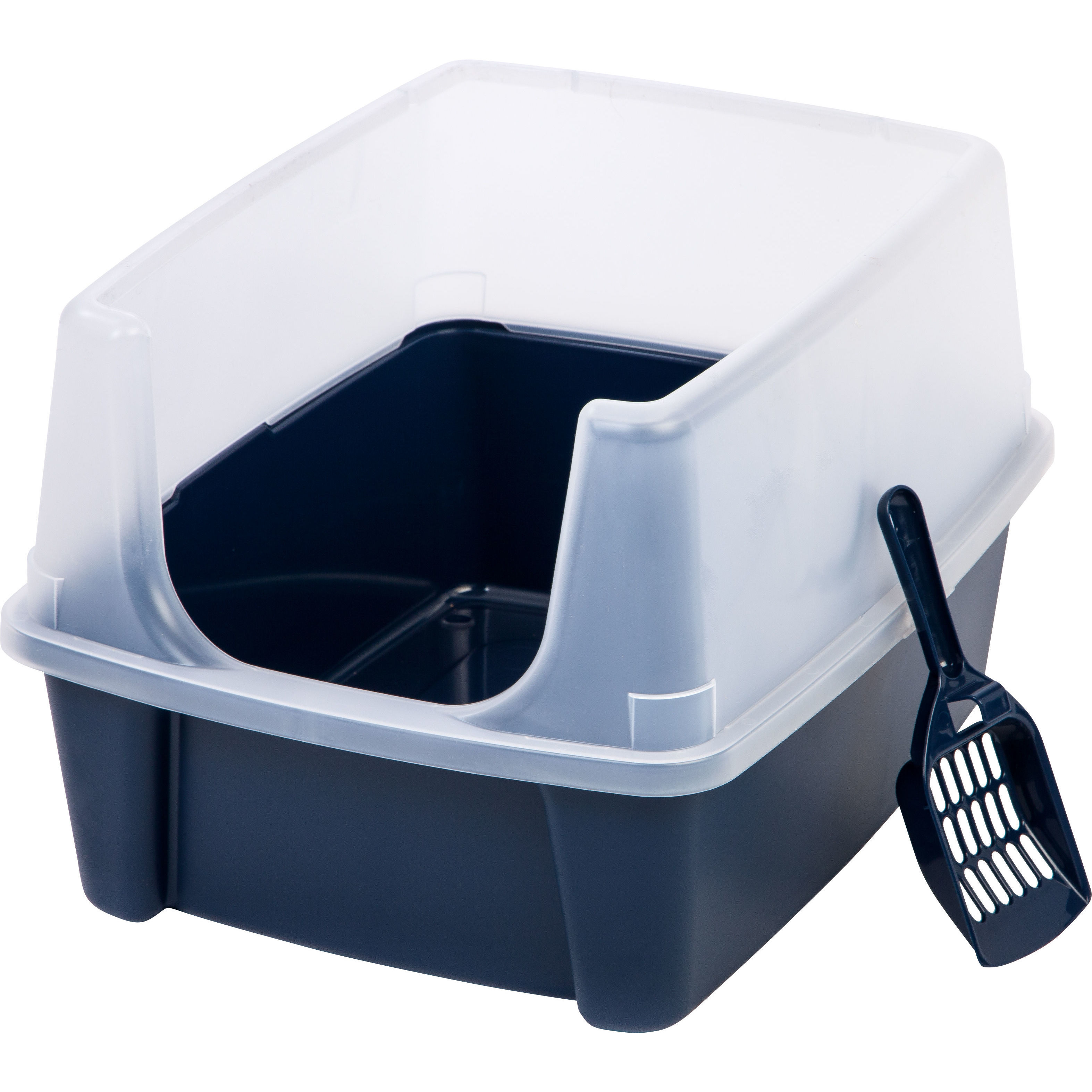 IRIS Litter Box with Shield and Scoop (White)