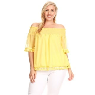 Xehar Womens Plus Size Casual Sexy Smocked  Tassel Trim Lace Blouse Top