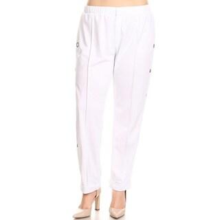 Xehar Womens Plus Size Solid Knit Side Grommet Detail Pants