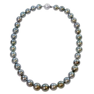 Miadora Signature Collection 14k White Gold Multi-Colored Graduated Tahitian Pearl Necklace (11-13.5 mm) - Multi