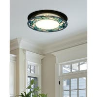 "Dale Tiffany Select 15""W Green Leaves Round LED  Flush Mount"