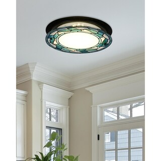 """Dale Tiffany Select 15""""W Green Leaves Round LED Flush Mount"""